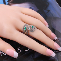 The leaves feather forefinger female fashion ring