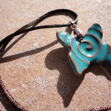 Turquoise Pottery Butterfly Necklace, Butterfly Ceramic Jewelry