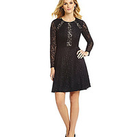 Antonio Melani Lila Lace-Insert Fit-and-Flare Dress - Black