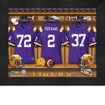 LSU Tigers | Locker Room Art | Personalized | Framed | NCAA