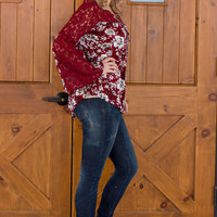 From The Blossom Of My Heart Tunic With Lace Accents ~ Burgundy ~ Sizes 4-10