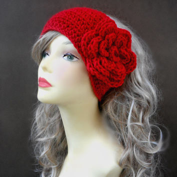 Crochet Headband Crochet Earwarmer Red Headband Womens Accessories Winter Accessories Hair Accessories