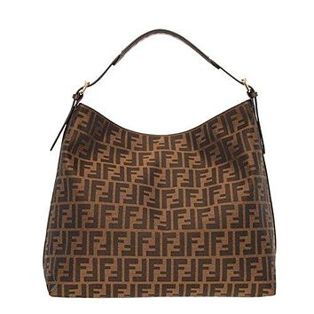 Fendi Authentic Genuine Large Zucca Pattern Tobacco Brown Leather Borsa Hobo Bag