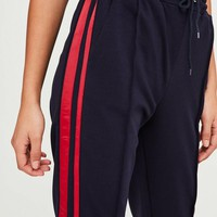 Missguided - Navy Double Side Stripe Joggers