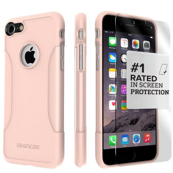 iPhone 7 Case, (Rose Gold) SaharaCase Protective Kit Bundle with [ZeroDamage Tempered Glass Screen Protector] Rugged Protection Anti-Slip Grip [Shockproof Bumper] Slim Fit - Rose Gold