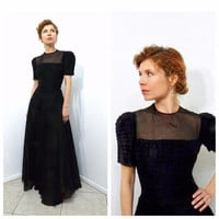 Vintage 1930s dress - F.O.G.A. Black Silk Chiffon 30s sheer Evening Gown