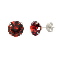 14k White Gold Round Garnet Red Cubic Zirconia Stud Earrings Prong Set