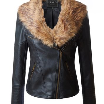 LE3NO Womens Quilted Faux Leather Moto Jacket with Detachable Faux Fur