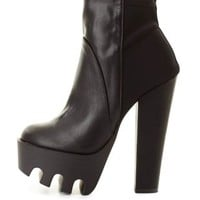 Extreme Lug Sole Platform Booties by Charlotte Russe - Black