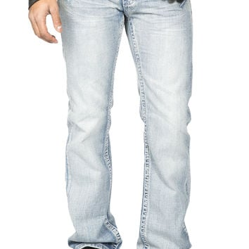 Guys Boot Cut Jeans  - Light Stone Wash