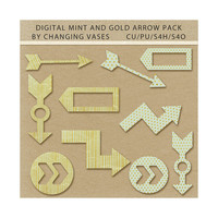 Commercial Use, Mint and Gold Arrows Clipart Set, Digital Scrapbook Elements, Scrapbooking Shapes, Design Graphics, Wedding Clipart (1)