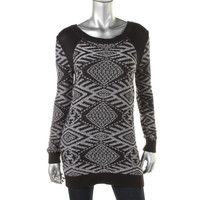 Sun & Shadow Womens Knit Ribbed Trim Tunic Sweater