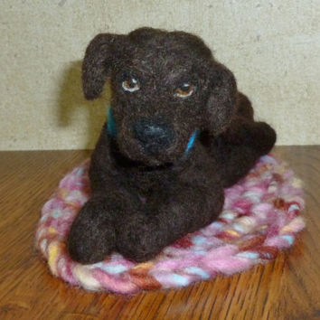 Chocolate Lab Dog Miniature Needle Felted Soft Scupture on Wool Crochet Rug