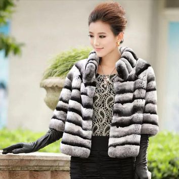 Winter women natural fur coat warm soft real rex rabbit fur jacket for lady fashion Chinchilla fur outerwear brand customized