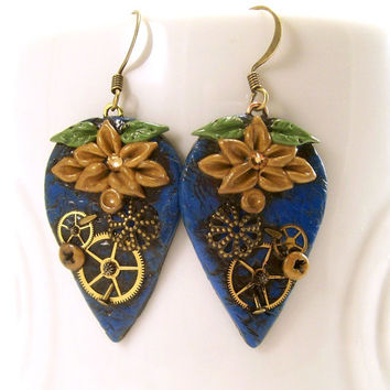 Blue Steampunk Dangle Earrings with Flowers / Polymer Clay Jewelry