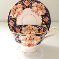 Vintage English Royal Albert Fine Bone China Heirloom Pattern Imari Cobalt Blue Tea Cup and Saucer - Ca. 1960's - 1970's
