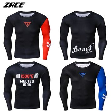 ZRCE New Funny Mens Fitness 3 D Prints Long Sleeves Skin Tights T Shirt Bodybuilding Compression Shirts Crossfit Workout Top