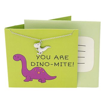 Ron Dinosaur Necklace Funny Puns Happy Birthday Cards, You Are DINO-MITE!