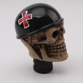 Vehicle Cross of Iron Helmet Skull Style Car Gear Knob Handles Gear Shift Knob Manual Shifter Shift Lever Knob Handbrake Covers