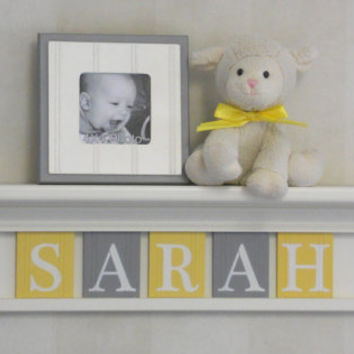 "Yellow Gray Nursery Wall Art, Baby Girl Nursery Decor - Custom for SARAH - Personalized 30"" Linen White Wood Shelf Sign 5 Wood Wall Letters"