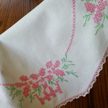 Pink and White Linen Doily Embroidered Octagonal Oval Dresser Scarf Vintage Linens Beautiful Crocheted Lace Border Hostess Gift Idea