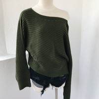 CEREN OFF SHOULDER SWEATER- OLIVE
