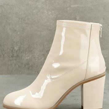 BC Footwear Ringmaster Nude Patent Ankle Booties