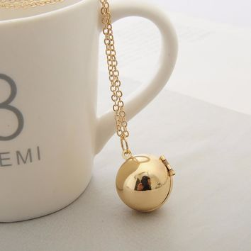 Handmade Secret Message Ball Locket Pendants Necklaces Gold Silver Chain Love Promise Friendship Chain Necklace #262703
