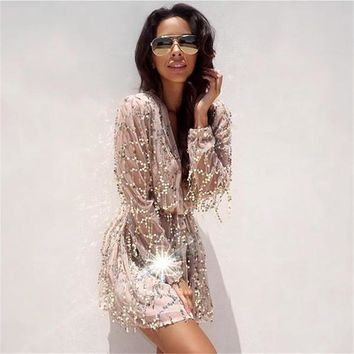 Fringed Sequined Dress Women Beach Cover Up Deep V Collar Embroidery Lantern Long Sleeved