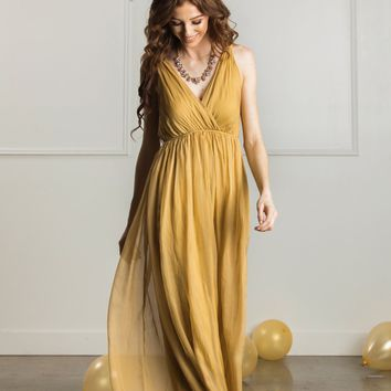 Evangeline Gold Silky Maxi Dress