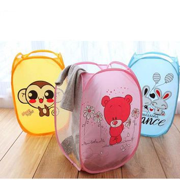 Cartoon Animal Storage Net Mesh Hamper Folding Pop Up Laundry Basket Bin 9 Style FG