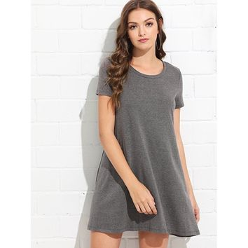 Short Sleeve Solid Swing Dress