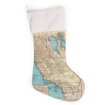 """Catherine Holcombe """"So Cal Surf Map"""" Beige Blue Christmas Stocking"""