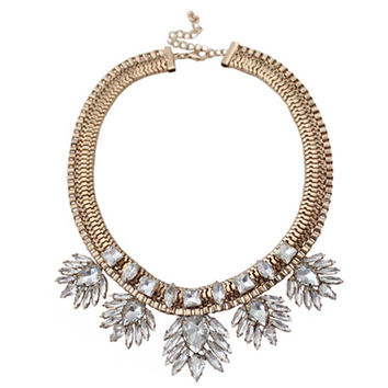 Rhinestone Floral Statement Necklace