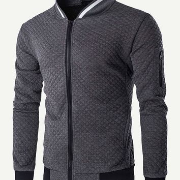 Men Zipper Fly Stand Collar Jacket