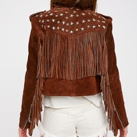Free People Paris Texas Crop Fringe Jacket