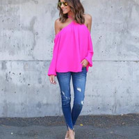 Pink Off Shoulder Blouse
