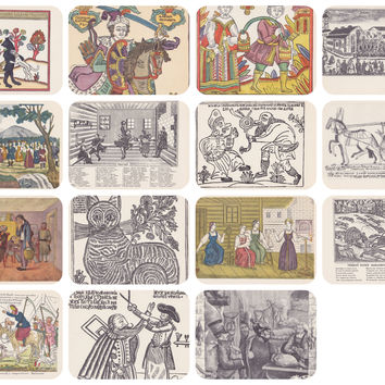 Russian Folk Pictures. Set of 15 Vintage Postcards (out of 16) in original cover -- 1960