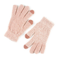 Soft Light Pink Boucle Touch Screen Gloves
