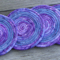 Coiled Fabric Coasters, Purple and Blue Coasters