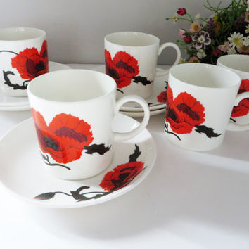 Susie Cooper vintage 1970's coffee cup and saucer, Corn poppy, Wedgwood,