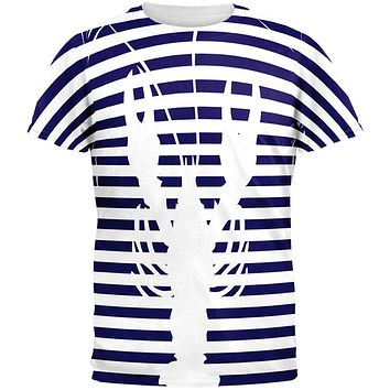 Lobster Navy Nautical Stripes All Over Mens T Shirt