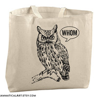 Large Totes Beach Bags Canvas Tote Bag Whom Owl Tote Beach Tote Bags Funny Teacher Bag Gifts for Teachers Gifts English Christmasinjuly CIJ