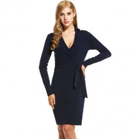 Women Casual Long Sleeve Solid V Neck Slim Wrap Dress