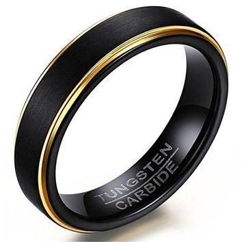 5mm Tungsten Carbide Ring 18k Gold Black Vintage Wedding Engagement Promise Band Matte Finish