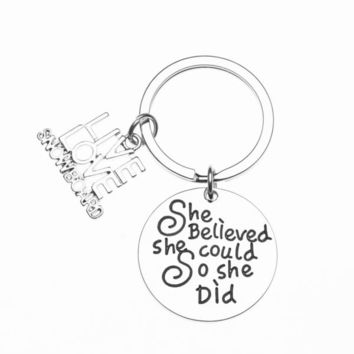 Snowboarding She Believed She Could So She Did Keychain