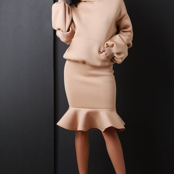 Ruched Statement Sleeve Hoodie with Mermaid Midi Skirt Set