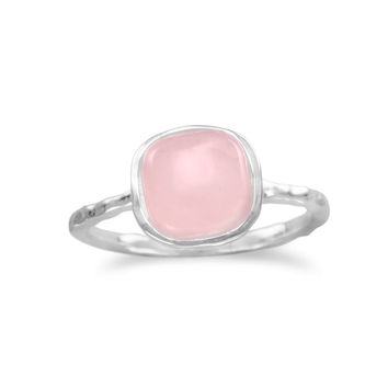 Rose Quartz Stackable Ring with Textured Sterling Silver Band