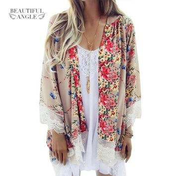 2018 Fashion Floral Chiffon Kimono Women Cardigan Elegant Lace Women Flower Print Chiffon Blouse Shirt Women Loose Kimono jacket