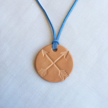 Arrows Terracotta Clay Diffuser Necklace - Essential Oils - Faux Suede Cord -Terra Cotta Clay Pendant Aromatherapy Wanderlust